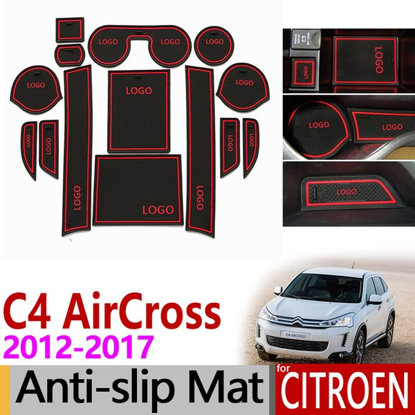 Anti-Slip Gate Slot Mat Rubber Coaster for Citroen C4 AirCross 2012 2013 2014 2015 2016 2017 Accessories Car Sticker 14PCS