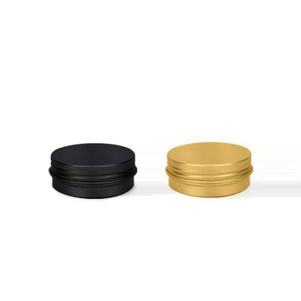 100 X 15G Matte Black Golden Aluminum Container With Screw Cover ,Aluminum Jar Bottle For Cosmetic Cream Tea Soap Beam Powder