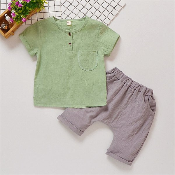 Newest Designs INS Toddler Baby Boys Suits Front Button Pocket Blank Tees with Pants 2pieces Set Linen Organic Cotton Children Clothes