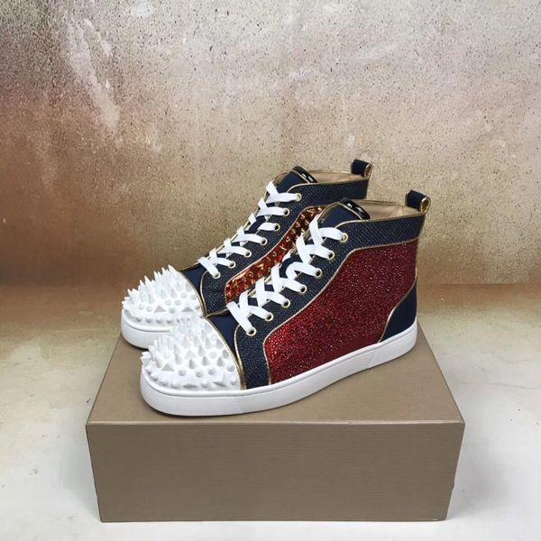 Homens de luxo Sem Limite F18 Sapatos Fundo Vermelho Sapatos Strass Pik Pik Spikes Moda Skate Andando Vestido de Festa de Casamento Com Caixa