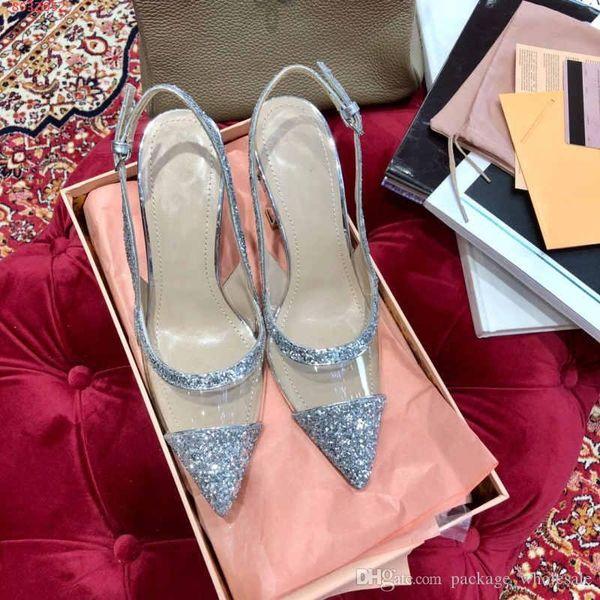 alta qualidade de salto alto mulheres sandálias de alta qualidade material transparente de prata e lantejoulas pretas casuais e elegantes senhoras vestido sapatos