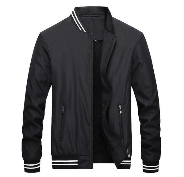Mens Winter Wolle Liner Jacken solide getäfelten Reißverschluss Mäntel Stehkragen Langarm-Jacke Herrenbekleidung