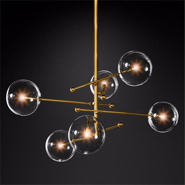 Nordic Glass Crystal LED Chandelier Lighting Bedroom Living Room Chandelier Interior Pendant Lamps Glass Ball Hanging Lamp Avize