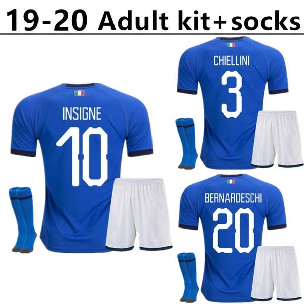 Costume adulto + calze 2019 maglia da calcio italia 2020 CHIELLINI INSIGNE maglia calcio ITALIA INSIGNE Camiseta de futbol BERNARDESCHI TOTTI IMMOBI