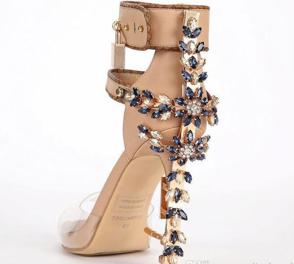 Hot Sale-Transpare Edition Perspex High Heels Sandals Luxury Quality Ankle Women Sandals Boots Peep Toe Rhinstone Lock Design Shoes Woman
