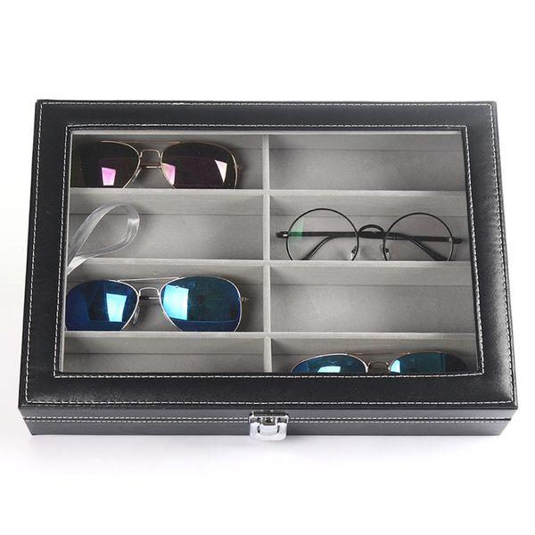 d810e523b1e06 Caixas de armazenamento de óculos de couro preto jóias quadrado simples  moda casa óculos de sol