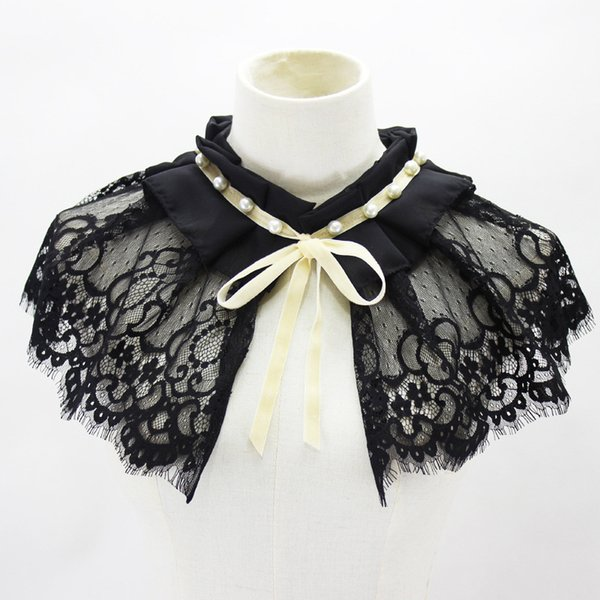 shawl dickie nail pearl lace decoration bow fold doll lead fake collar new wholesale shirt women