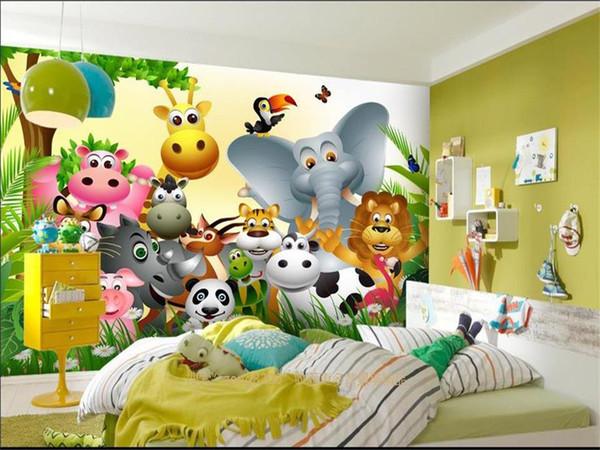 사용자 정의 크기 3d 사진 벽지 침대 룸 벽화 귀여운 동물 행복한 정글 아이 3d 그림 소파 텔레비젼 배경 화면 부직포 벽 스티커