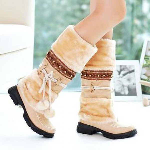 2019 Beautiful Women Mid Calf Boots Winter Warm tassel Plush Shoes Women Snow Boots Fringe Ladies Creepers Block heels Botes Mujer