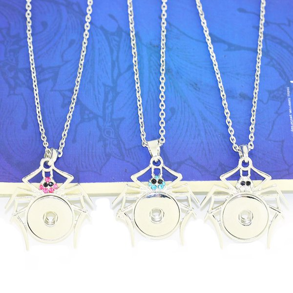 3 colors spider alloy charm necklaces with 18mm snap button woman Pendants with crystals Beads Women's neckLace PT020