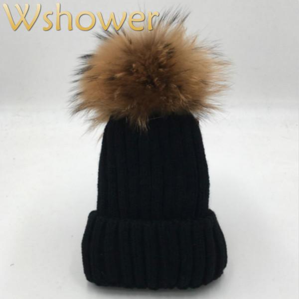 [Hangi duşta] Lady Gerçek Rakun Kürk Pom Pom Örgü Kış Bobble şapka kap Bere Kadın Kadın Gül Kırmızı Gri beyaz Siyah Kürk Şapka