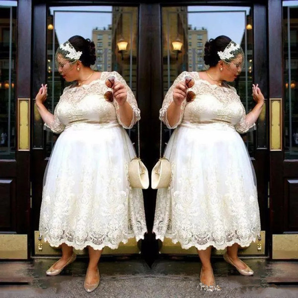 Discount Plus Size Country Wedding Dresses With Half Sleeves A Line Tea  Length Lace Wedding Dress Custom Made Bohemian Boho Style Bridal Gowns 2019  A ...