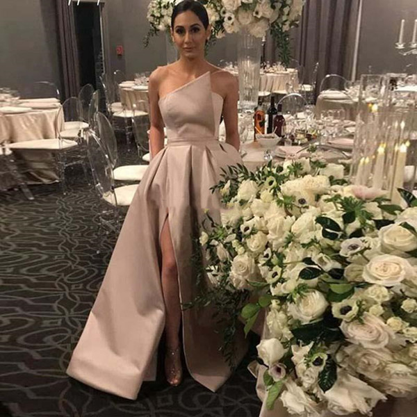 Sexy Side High Slit Cocktail Dresses Strapless A Line New 2019 Simple Satin Long Arabic Prom Party Gowns Cheap Formal Wear Plus Size