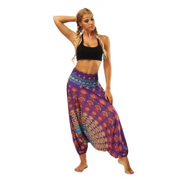 Élégant style ethnique 3D Print Inde Pantalon de danse du ventre Yoga large jambe en vrac Pantalons pour femmes Pantalons fitness