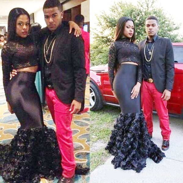 Two Piece African Trumpet Prom Dresses New 2019 Top Lace High Neck Long Sleeve Floral Mermaid Evening Gowns Black Girls Cocktail Party Wear