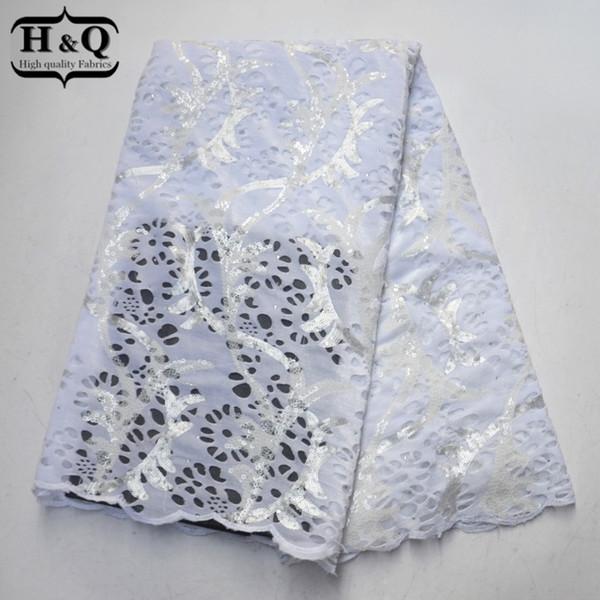 Белая чистая кружева лоскутное 5 ярдов африканские кружевные ткани с блестками и камнями высокого качества бархат кружевной ткани для свадебного платья