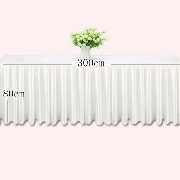 0.8*3m Table skirts white ice silk wedding table skirt cloth decoration hotel banquet event hotel home skirting pink