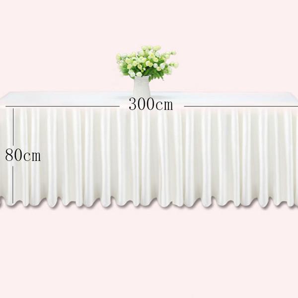 0.8 * 3 m Gonne da tavola bianca di seta del ghiaccio tavolo da sposa gonna decorazione di stoffa hotel evento banchetto hotel battiscopa rosa