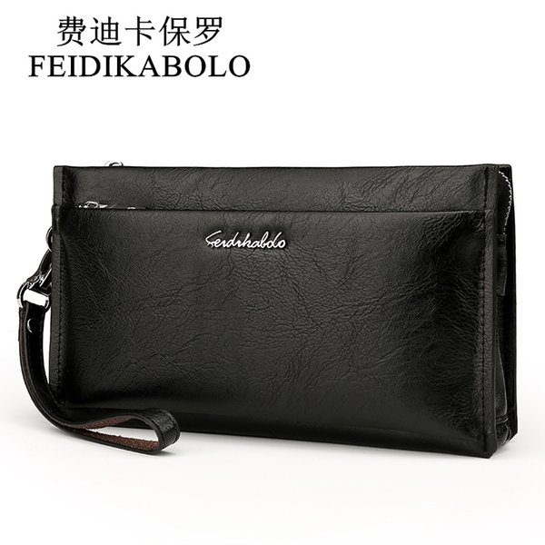 Feidikabolo Brand Zipper Men Wallets With Phone Bag Pu Leather Clutch Wallet Large Capacity Casual Long Business Men's Wallets Y19052104