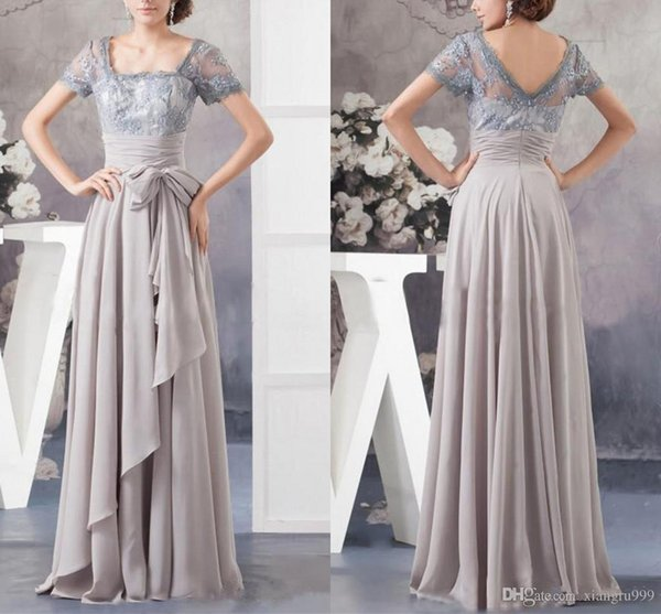 Elegant Chiffon Lace Mother Of The Bride Dresses Short Sleeves Long Illusion Mother Dress Simple Cheap Weddings Guest Dresses