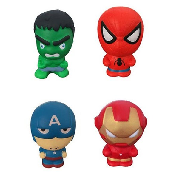 INS New Style PU Squishy Animal Dog Squishies Decompression Toys Captain American The Hulk Comeics Spider Men Designs Kids Children Toys