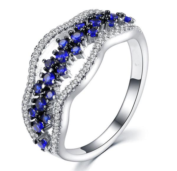 Luxo Feminino Ladies Crystal Trendy Fine CZ Anel de Pedra Venda Quente Anel de Princesa Big Blue / Crystal Clear Para As Mulheres de Casamento