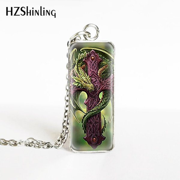 2019 New Vintage Steam Punk Dragon and Cross Pattern Rectangle Necklace Gifts for Men Handmade Glass Dome Pendants Jewelry