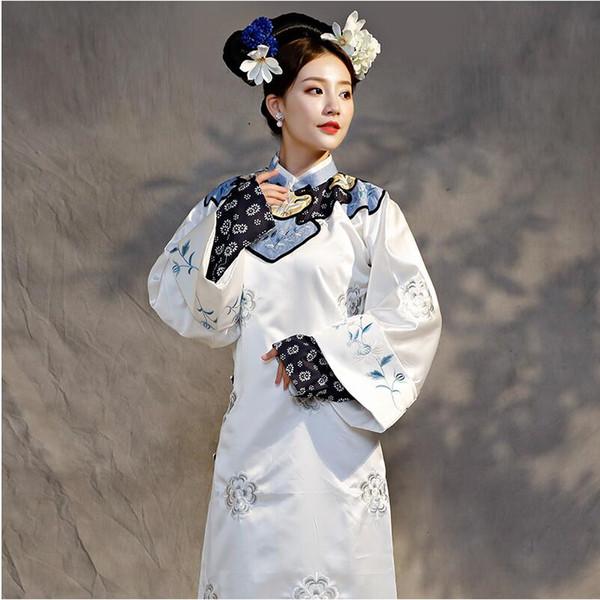 Qing Dynasty Princess Costume Embroidery Theatrical Robe women elegant vestido White cheongsam dress Film TV Play performance stage wear