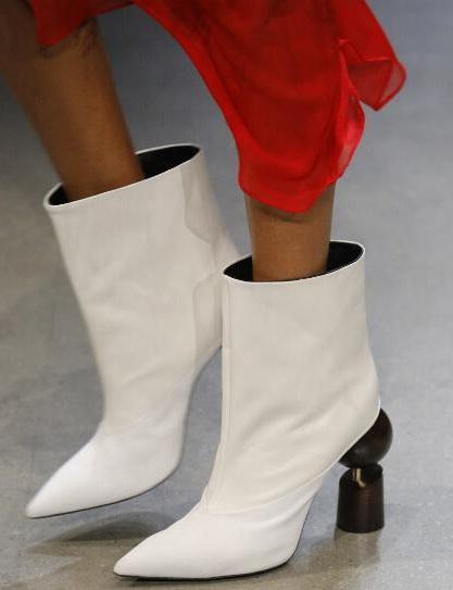 Venta caliente-italiano negro blanco oro tacón alto media pantorrilla botas vestido de fiesta botas para mujer tacón de bloque mujer invierno alta moda corta