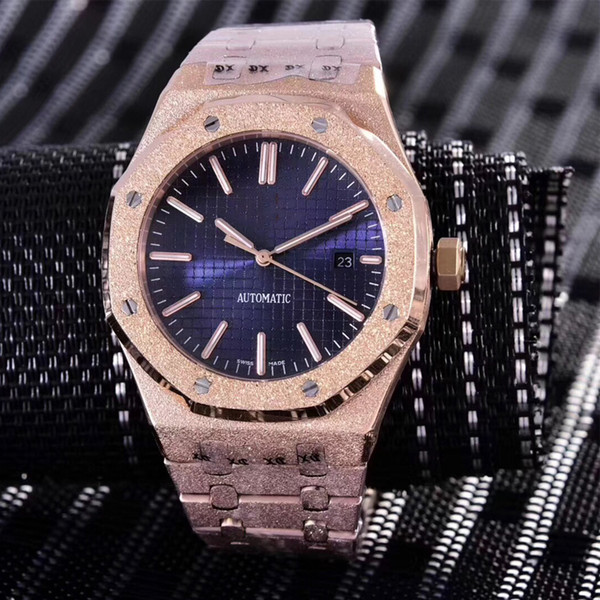 15 colors Diamond automatic Royal Frosted Black Dial Oak mens 18k rose Gold Watch Silver-tone hands Fixed bezel 42mm size glide mens watch
