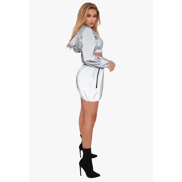 2019 súper láser de fuego para mujer traje deportivo y de ocio sexy cazadora de manga larga traje de dos piezas