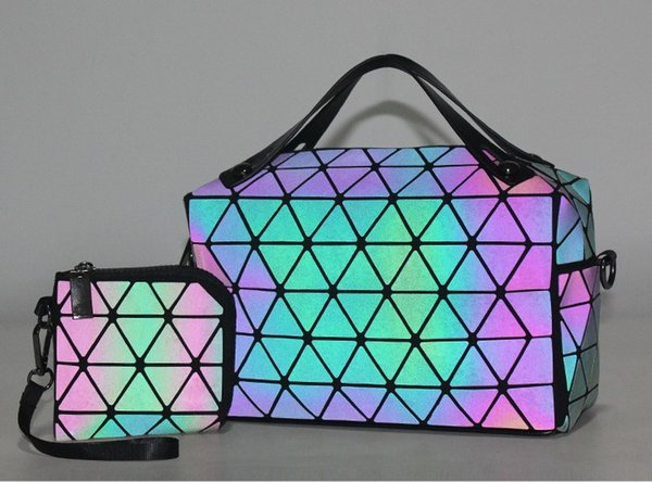 Fashion Women Luminous sac Hologram Bag Tote Geometry Quilted Shoulder Bags Saser Plain Folding Handbags Bolasa SET/2BAGS