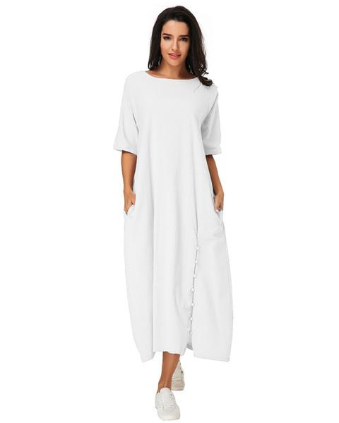 Vintage Orta buzağı Elbise Kadın 2019 Yaz Casual Lot O Yaklaşım Yarım kabuk Katı Vestido Zarif Bayanlar Çanta A-line Elbise Y19070901