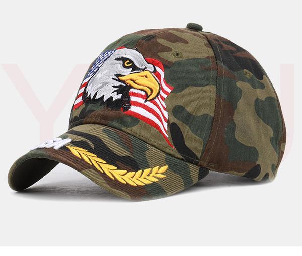 Les nouveaux hommes célèbre d'Eagle Casquette de baseball drapeau américain broderie Snapback Chapeau de papa d'os Homme d'été Lettre Casual armée américaine tactique Hip Hop Cap