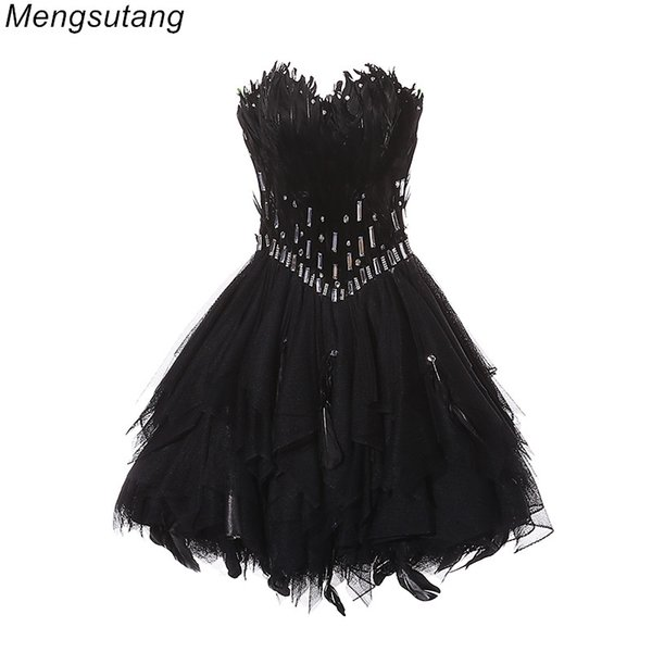 Robe de soiree Black Ball Gown Princess StraplessProm Gowns vestido de festa feather short bouquet prom dresses evening