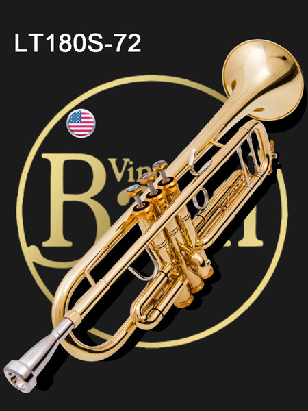 USA Bach trompette LT180S-72 B bémol Électrophorèse doré trompette trompette professionnelle trompette Top instruments de musique corne de laiton sans shippi