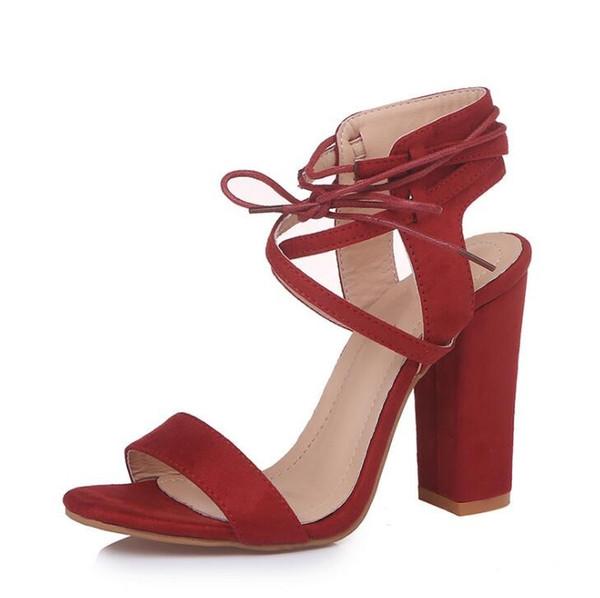 Cross Bandage High Heels Sandals Women Lace-Up round head summer sandals Women Shoes Fashion women sandals pure color L43