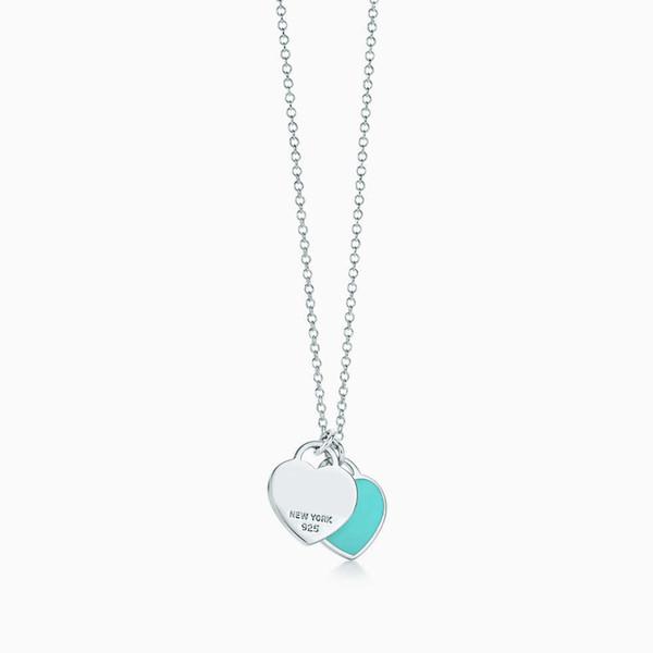 100% 925 Sterling Silver Brand New Genuine Classic Blue Esmalte Coração Pingente de Colar Temperamento Mulher Presente