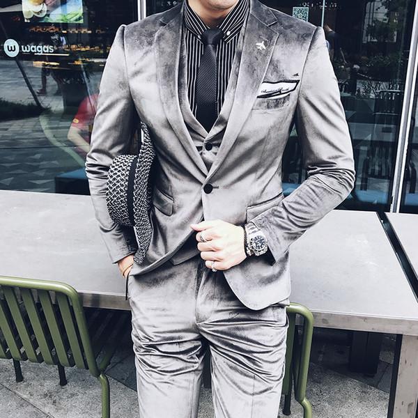 Men Dress 3-teiliges Set Asien Größe S M L XL XXL XXXL Slim Design Herren Blazer mit Hose und Weste Cordstoff Herrenanzüge Blazer