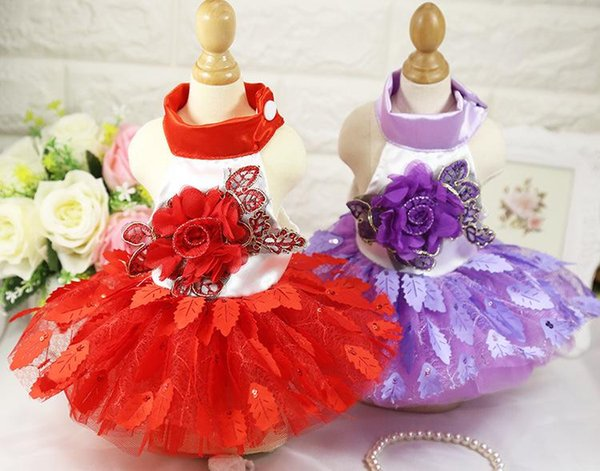 Spring Summer New Dog Apparel Wedding Dress Shiny Tree Leaves Dress Red And Purple Skirt Pet Supplies Wedding Supplies