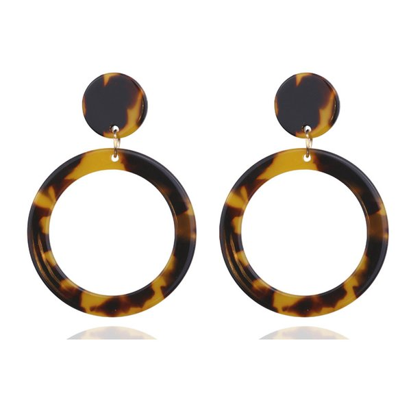 New Fashion Leopard Earrings Acetate Dangle Earrings Exaggerated Geometric Round Brown Acrylic Earrings For Women Valentines Gifts