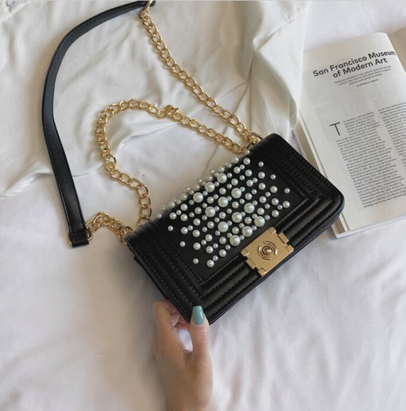 Factory wholesale brand women handbag sweet and lovely new Pearl decoration women shoulder bag fashion leather Chain bag sweet Pearl buckle