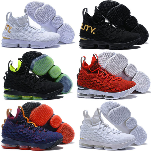 the best attitude ae4bd 4fbac Cheap New Mens Kith X Lebron 15 XV High Top Kids Basketball Shoes Lifestyle  Kings Cloak Black Floral LA Brown Sneakers Tennis Boys Sport Shoes Boys ...