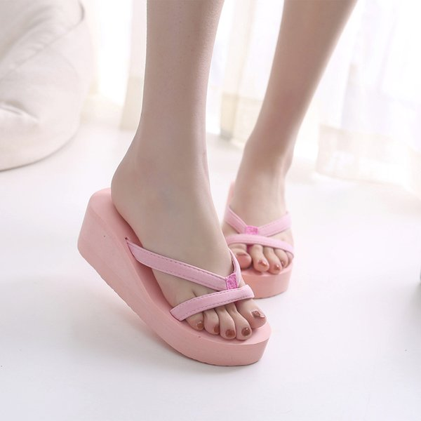Women's summer beach flip-flops Solid Pink Hot Pink Blue Wedge Rupper Slippers Summer Women Shoes