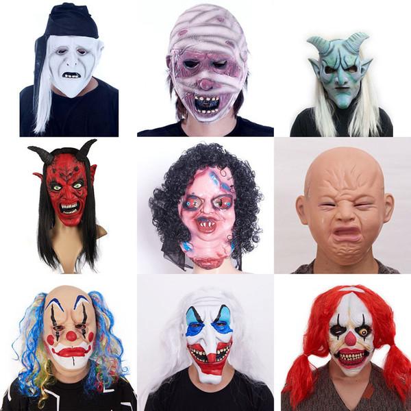 Хэллоуин террор маски 12 дизайн клоун дьявол маски игрушки хэллоуин страшные маски дом с привидениями белее волосы длинные носовые маски