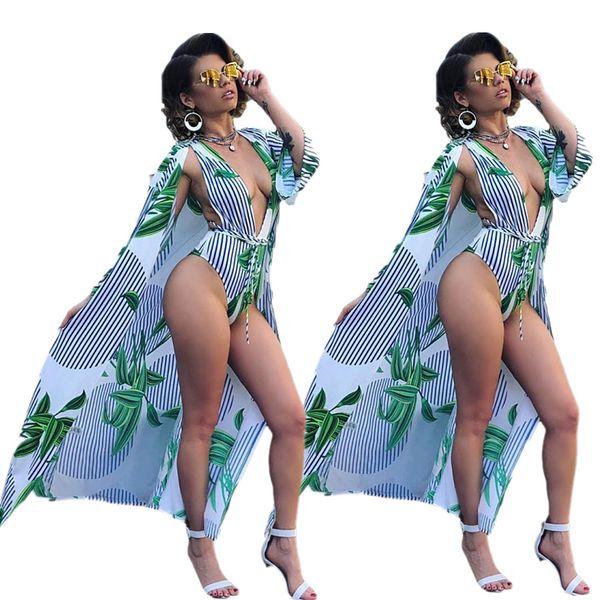 2019 летний пляж в полоску с принтом листьев X-длинный плащ глубокий боди с v-образным вырезом 2шт женский комплект сексуальный спортивный костюм наряд