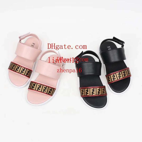 Crianças sandálias 2019 Moda Verão Meninas Do Bebê meninos Sandálias Elásticas Slip-Resistente Carta decoração Sapatos de Praia Da Criança Lazer sandálias A-di1
