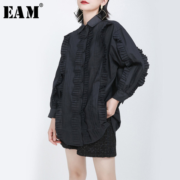 eam] women black pleated split big size blouse new lapel long sleeve loose fit shirt fashion tide spring autumn 2020 1s270, White