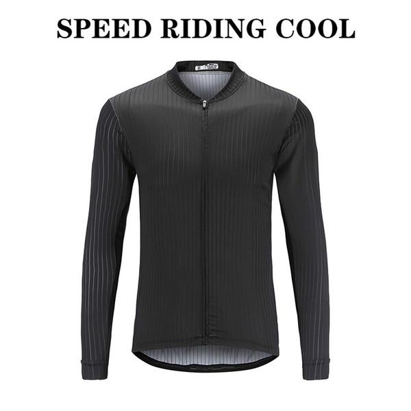 2019 siyah hayalet SENDIYOU.FS Men'sLong Kollu Bisiklet Forması Tam Fermuar MTB Dağ Formalar Giyim Hızlı Kuru Giymek