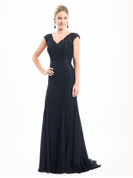 Elegante gasa negra / encaje perlas con cuello en v vestidos de la madre ocasión especial de la boda bodas vestidos de fiesta tamaño personalizado 2-18 kf101393